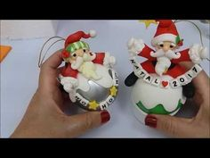 especial de natal 5 bola papai noel - YouTube Clay Ornaments, Diy Christmas Ornaments, Christmas Art, Christmas Decorations, Holiday Decor, Polymer Clay Christmas, Polymer Clay Charms, Navidad Diy, Cute Clay