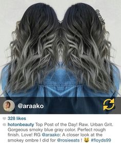 By araako on Instagram / black brown hair to silver gray ombre gradient