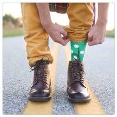 Fashion blogger Dan Green in our Green & White Spot Socks on his blog. #mensfashion #menssocks #spots #spotsocks #streetstyle #fashionblogger #rockmysocks