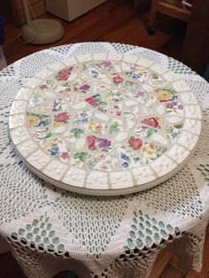 Broken china lazy susan mosaiv by cottagebreezeglass on Etsy