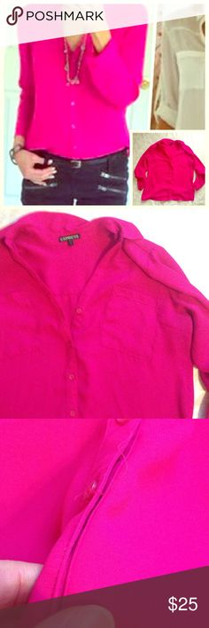 Hot Pink/ Magenta Portofino Bright hot pink/magenta color. Some loose strings at buttons. I purchased like this. EUC. Gorgeous color. Gets lots of attention! Express Tops Button Down Shirts