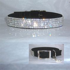 """A very sparkly """"bling"""" dog collar in suede style leather for medium to large dogs. Choose your leather and crystal colors!"""