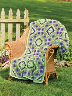 New Crochet Patterns - This beautiful design is made using worsted-weight yarn. Written instructions are given for the multicolored or the solid color option. Make 48 blocks for each option. An assembly diagram is also included. Size: 43'W x 56'L.