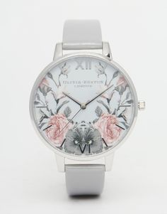 Olivia Burton Enchanted Garden Gray Patent Big Dial Watch