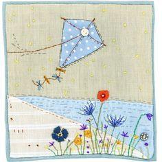 Let's go fly a kite! Applique Patterns, Applique Quilts, Embroidery Applique, Quilt Patterns, Freehand Machine Embroidery, Free Motion Embroidery, Free Machine Embroidery, Fabric Postcards, Fabric Cards