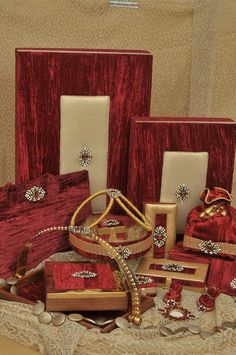 Magnificence offering wedding packing services in Delhi, India including designer gift packing metal platter, designer bridal gift wrapping, designer wedding ring tray, designer jewellery packing tray etc.