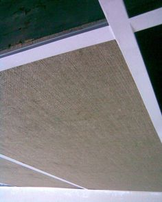 Finally found what I want to do with my ceiling down stairs. So excited. Two gallons of the contact cement at $75 and 40 yards of burlap at $50 gave me an acoustic ceiling for $125
