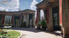I have the pleasure to show you my work for the final mission of Assassin's Creed Origins. Location is Ancient Rome, more specific the Theater of Pompey. Futuristic Art, Futuristic Architecture, Classical Architecture, Fantasy Art Landscapes, Fantasy Landscape, Landscape Design, Ancient Rome, Ancient History, Assassin's Creed Black