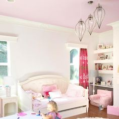 Pops of pink 🎀 in this beautiful playroom from @fashionablehostess. And how about those amazing Moroccan style lanterns, gorg!  #playroom #girlsroom #pinkceiling