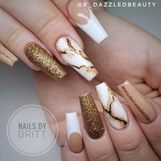 The Best Coffin Nails Ideas That Suit Everyone - - Gorgeous coffin shaped nails design for inspiration, consists of nude nails with gold glitter, French nail, and marble nails! Dope Nails, Swag Nails, My Nails, Bling Nails, Summer Acrylic Nails, Best Acrylic Nails, Pastel Nails, Coffin Shape Nails, Coffin Nails Long