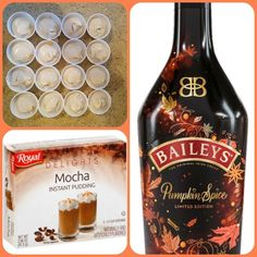 Pumpkin Mocha Pudding Shots 1 Pkg. Mocha nstant pudding ¾ Cup Milk 3/4 Cup Baileys Pumpkin Spice Irish Cream 8oz tub Cool Whip Directions 1. Whisk together the milk, liquor, and instant pudding mix in a bowl until combined. 2. Add cool whip a little at a time with whisk. 3.Spoon the pudding mixture into shot glasses, disposable shot cups or 1 or 2 ounce cups with lids. Place in freezer for at least 2 hours