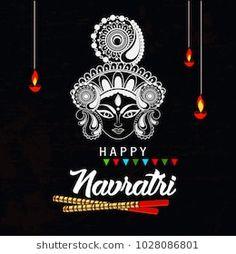 Editable Navratri Vector 2018 Hindu New Stock Vector (Royalty Free) 1028086801 Happy Navratri Wishes, Happy Navratri Images, Durga Puja Image, Logo Design India, Lord Durga, Hindu New Year, Happy Durga Puja, Hacker Wallpaper, Black Art Painting