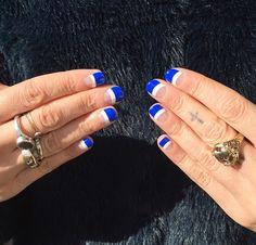 Blue half moon nail design - @aliciatnails
