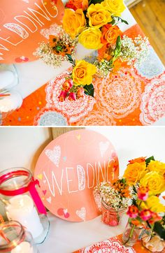 Bespoke colourful wedding | Styling by Rachael Taylor | Sign & table runner designed by Rachael Taylor | Location Sandburn Hall | Photography by navyblur | Flowers by Ello Flower
