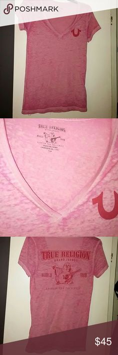 True Religion NWOT Pink Vee Stretchy Graphics Top This True Religion v-neck burnout logo tee is an updated classic with a signature horseshoe on a marled pink base. Music loving Buddha playing guitar on the back completes the look. Pair with any of their denim jeans for a stylish outfit! I've never worn this- NWOT. True Religion Tops Tees - Short Sleeve