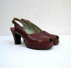 074286f2da4 40s Shoes Vintage Red Alligator Slingback Platform by ... Peep Toe  Platform