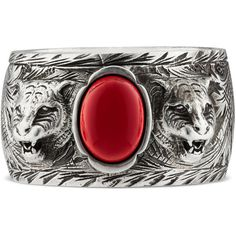Gucci Garden Ring In Silver ($290) ❤ liked on Polyvore featuring jewelry, rings, engraved silver jewelry, silver chain jewelry, engraved jewellery, silver jewellery and chains jewelry