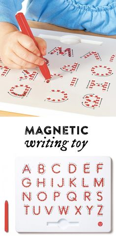 A magnetic stylus pulls beads up to create solid lines. Kids writing their first letters will get helpful up, down and sideways instructions via easy-to-follow arrows. Erases with the tip of a finger.