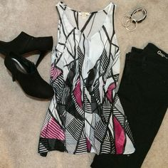 Forever21 Top Beautiful sheer Forever 21 top. Rarely worn, excellent condition. Geometric pattern in black, dark pink, and white patterns. Forever 21 Tops Tank Tops