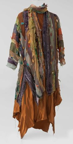 "Tattered Goddess collection made with ""treasured bits"" of hand-dyed silk scraps from 40 years of creating one-of-a-kind silk clothing"