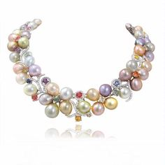Stardust Diamond, Sapphire, and Pearl 18k White Gold Necklace