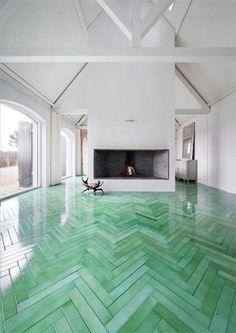 green herringbone floor.