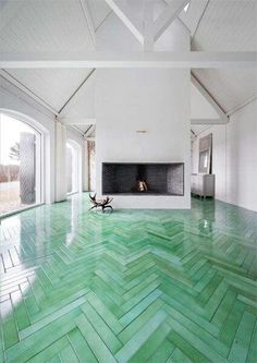 green herringbone floor.