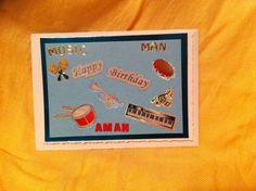Birthday card. Music man