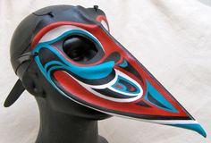 Raven Red Turquoise Black and White Leather Art by RiverGypsyArts Animal Espiritual, Raven Mask, Native American Masks, Coast Style, Tlingit, Leather Mask, Indian Tribes, Animal Masks, Red Turquoise