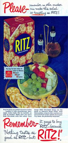 1952 Ritz crackers ad. #vintage #1950s #ads