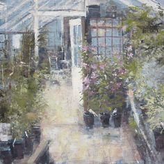 Gerald Green  Clematis in the Greenhouse: OIl: 16 x 16 in