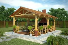 Corrugated cardboard and wood gazebo- Беседка из профнастила ., Corrugated cardboard and wood gazebo- Беседка из профнастила и дерева Corrugated cardboard and wood gazebo - # cafeGardenOutdoor Although historical with thought, this pergola h. Diy Pergola, Rustic Pergola, Backyard Gazebo, Garden Gazebo, Deck With Pergola, Outdoor Pergola, Pergola Shade, Outdoor Rooms, Backyard Landscaping