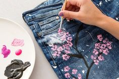 Our DIY muse is at it again with cherry blossom jeans.