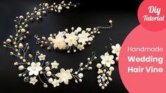 How to Make Bridal Hair Vine Handmade Tutorial. DIY Craft Ideas How to Make Bridal Hair Vine Handmad Diy Head Jewellery, Handmade Crafts, Diy Crafts, Handmade Ideas, Bridal Hair Vine, Diy Hair Vine, Hair Beads, Jewelry Making Tutorials, Handmade Wedding