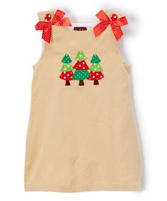 This Beige Corduroy Christmas Tree Dress - Infant, Toddler & Girls is perfect! #zulilyfinds