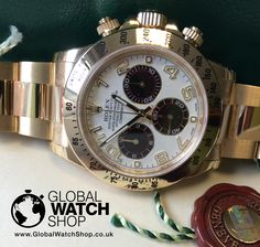A gold Daytona with a difference. The Panda dial in stock http://www.globalwatchshop.co.uk/rolex-daytona-18ct-yellow-gold-white-panda-dial-116528.html?utm_content=buffere326f&utm_medium=social&utm_source=pinterest.com&utm_campaign=buffer Click for Details