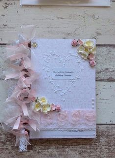 Personalised Wedding Planner Book Beautifull Decorated With Flowers, Heart, Lace Best Wedding Planner Book, Wedding Planner Notebook, Wedding Planning On A Budget, Wedding Planning Timeline, Wedding Book, Wedding Album, Rustic Wedding Gifts, Personalized Wedding Gifts, Pearl Decorations