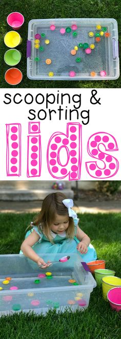 Scooping & Sorting Lids for Toddlers: Such a simple activity that includes fine motor practice and the cognitive development skill or sorting by a common characteristic (color). Great outdoor toddler activity!