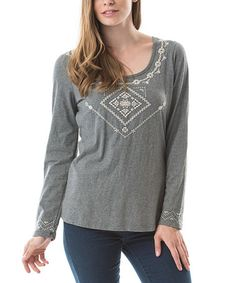 Charcoal Embroidered Scoop Neck Tee by Bella Carra