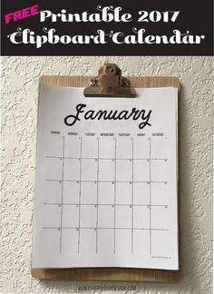FREE 2017 Printable Clipboard Calendar - Free download from www.reneesherwooddesign.com