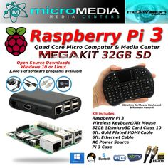 Raspberry Pi 3 Mega Kit-Quad Core Mini Computer Bluetooth Wifi Keyboard Mouse +  #RaspberryPi