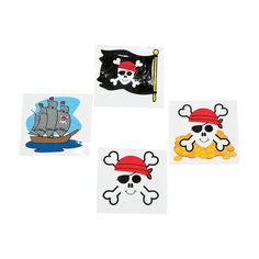 Classic Pirate Tattoos -OrientalTrading.com These tattoos could be put on the kids who want them at the party.