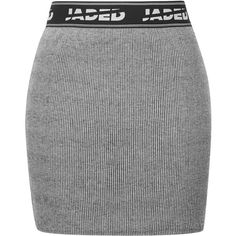 Ribbed Mini Skirt by Jaded London ($32) ❤ liked on Polyvore featuring skirts, mini skirts, bottoms, grey, body con mini skirt, gray bodycon skirt, bodycon skirt, gray skirt and topshop