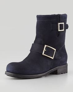 Jimmy Choo Youth Suede and Shearling Biker Boot, Navy on shopstyle.com