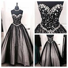Black and silver stones prom dresses tulle sweetheart corset prom ball gowns fashion dress for party vestido de formatura