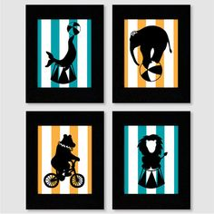 Circus Animal Silhouette Wall Art Print Set of 4 8X10 for nursery or kids room on Etsy, $42.00