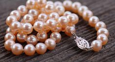 Natural Color Peach Cultured Freshwater Pearl Necklace