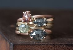Custom Natural Rose Cut Diamond Rings by Alexis Russell