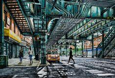 """NEW YORK By Socrates Rizquez 2019 - Enamels on aluminium painting. 148 x 100 cm. Thanks to my eyes in NYC Nico Geerlings. Original Paintings, Original Art, Socrates, Photorealism, Enamel Paint, Impressionism, Buy Art, Saatchi Art, Nyc Train"