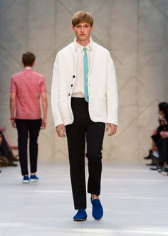 Double cashmere knitted jacket and green linen tie with bright blue suede shoes - The Burberry Prorsum S/S14 Collection